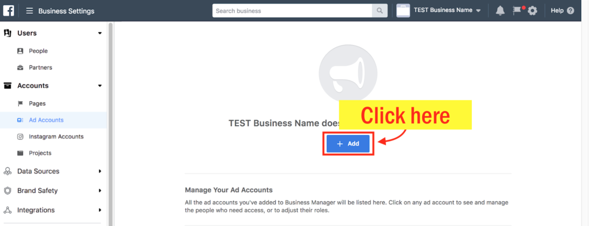 Create a Facebook Ad Account - Step 4 Screenshot