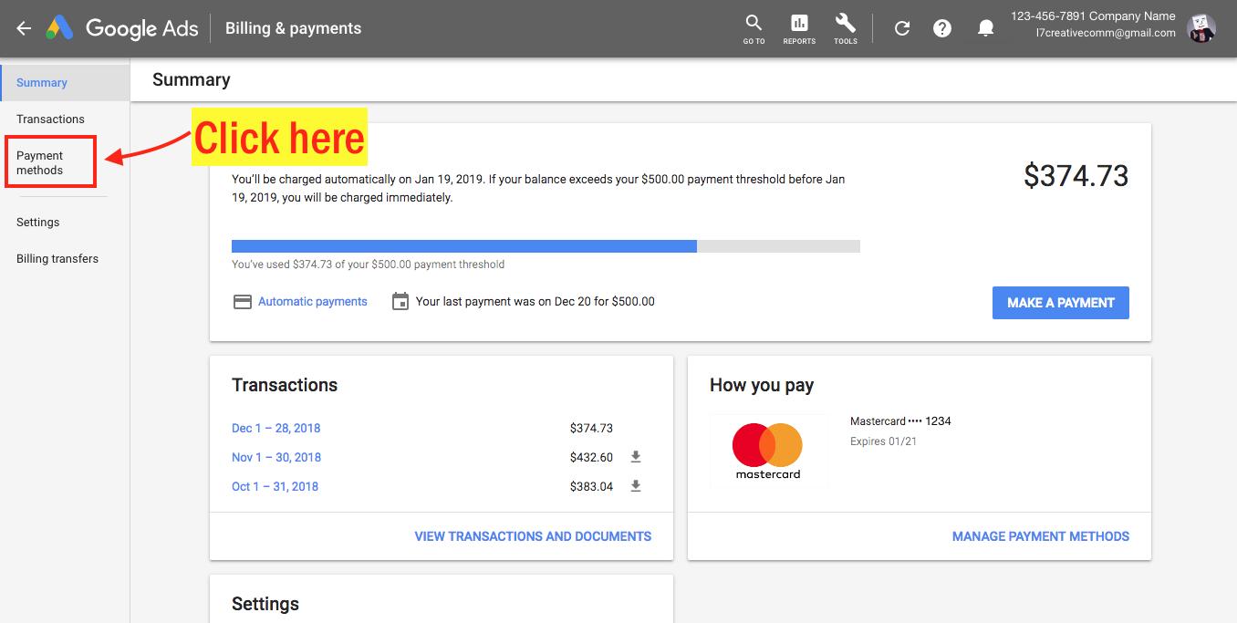 Edit Your Google Ads Payment Info - Step 4 Screenshot
