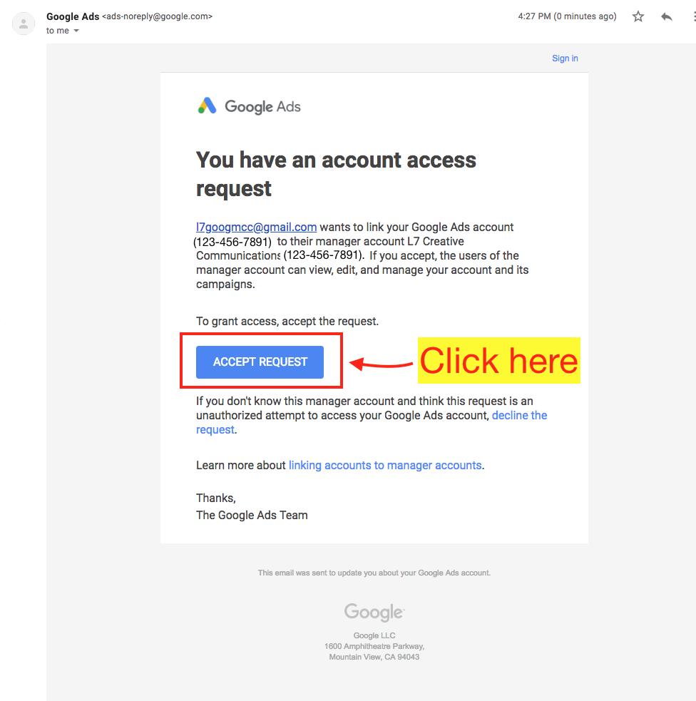 Accept Google Ads Link Request - Step 3 Screenshot