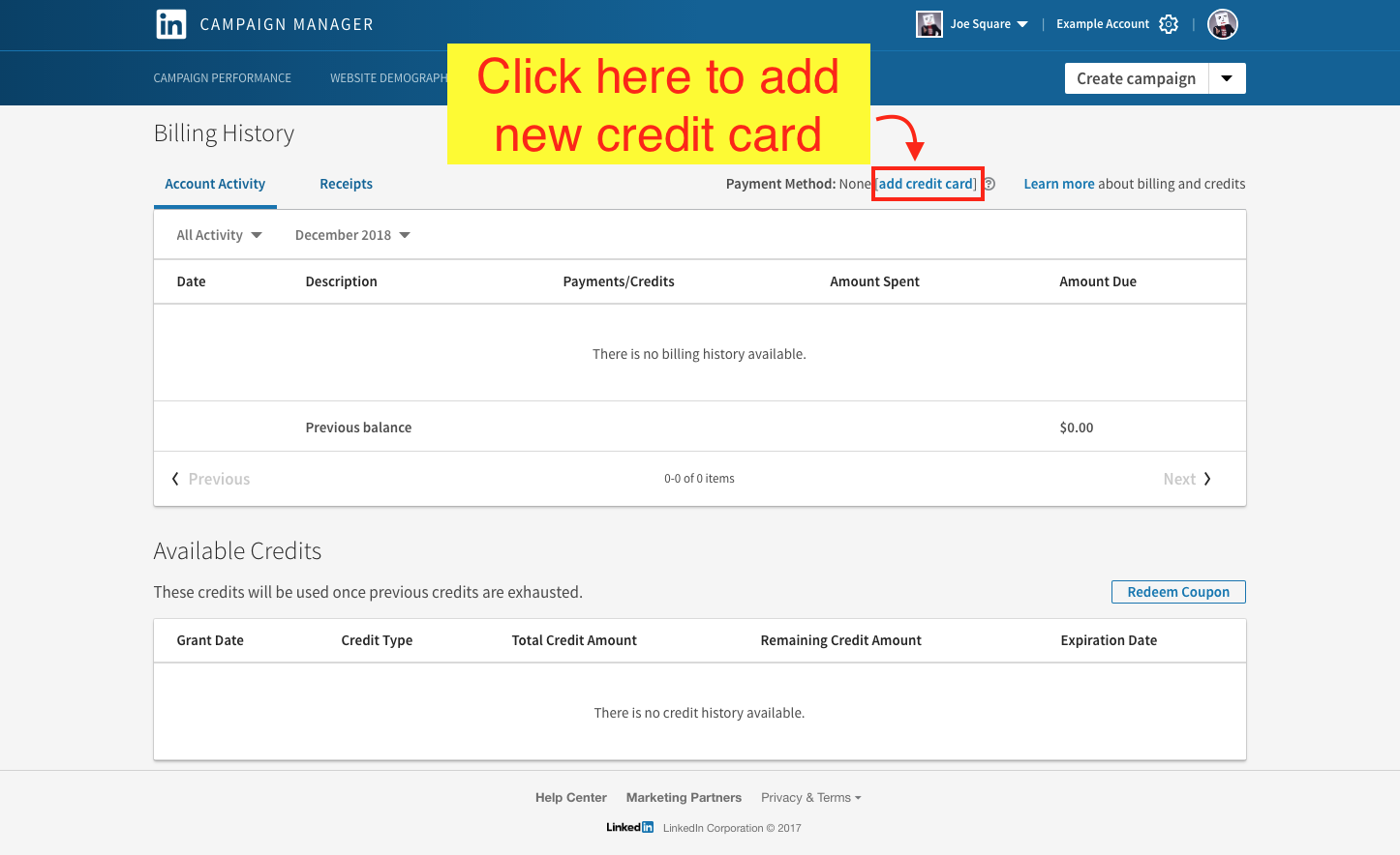Edit, View, or Add LinkedIn Ads Payment Info - Step 5 Screenshot