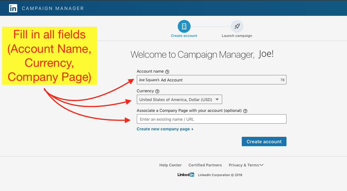 How to Create a LinkedIn Ad Account - Step 5 Screenshot
