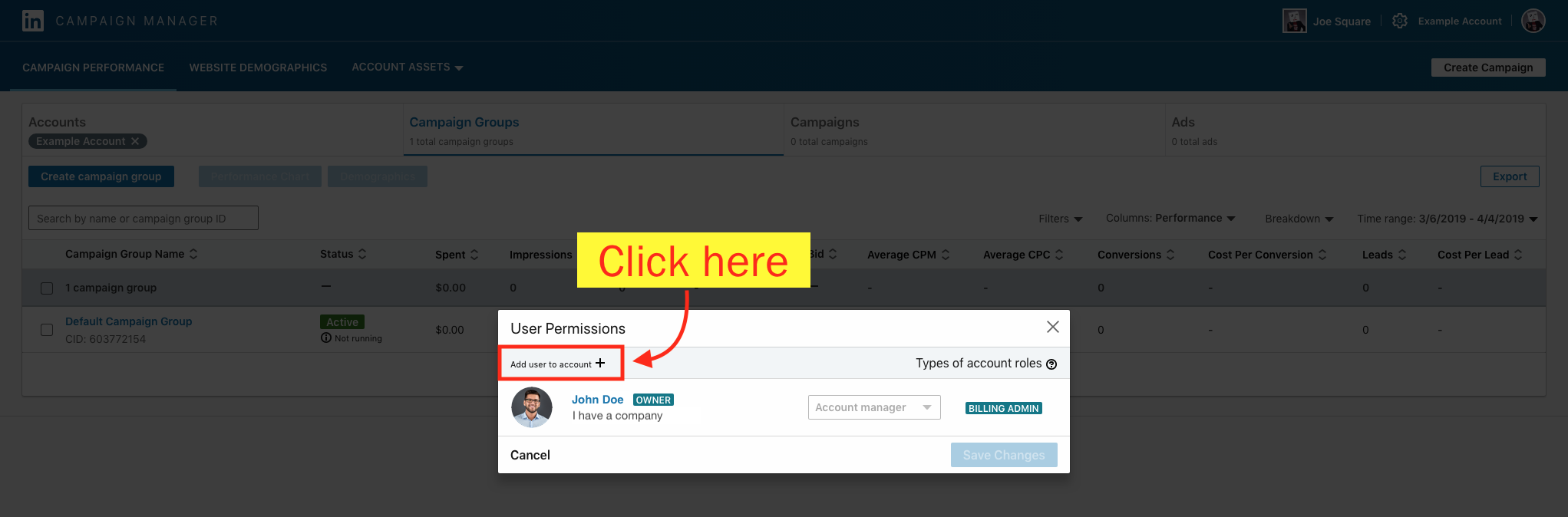 Add a Campaign Manager to Your LinkedIn Ad Account - Step 5 Screenshot