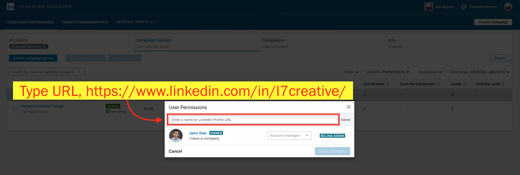 Add a Campaign Manager to Your LinkedIn Ad Account - Step 6 Screenshot