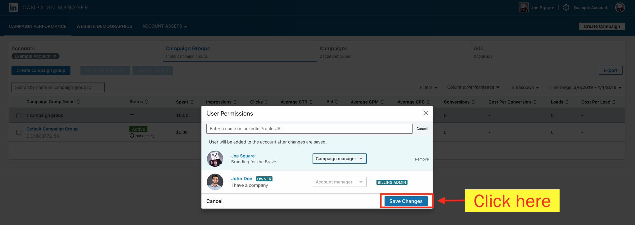 Add a Campaign Manager to Your LinkedIn Ad Account - Step 11 Screenshot
