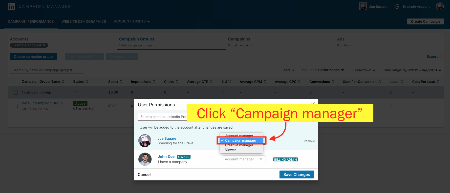 Add a Campaign Manager to Your LinkedIn Ad Account - Step 10 Screenshot
