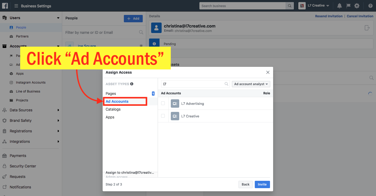 Add an Admin to Your Facebook Ad Account - Step 8 Screenshot
