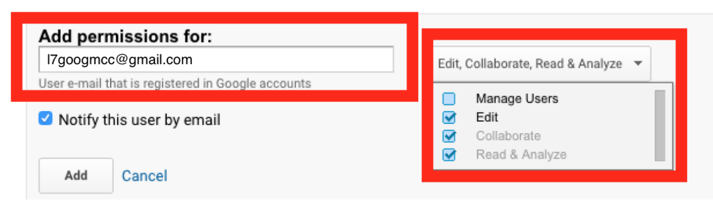How to Add a Google Analytics User Step 4 Screenshot
