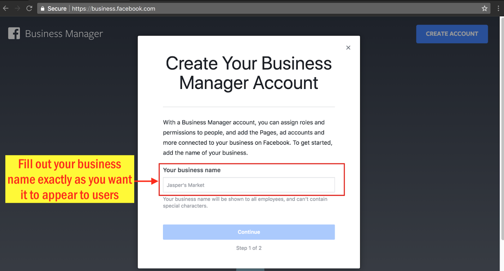 Sign Up for Facebook Business Manager - Step 4 Screenshot