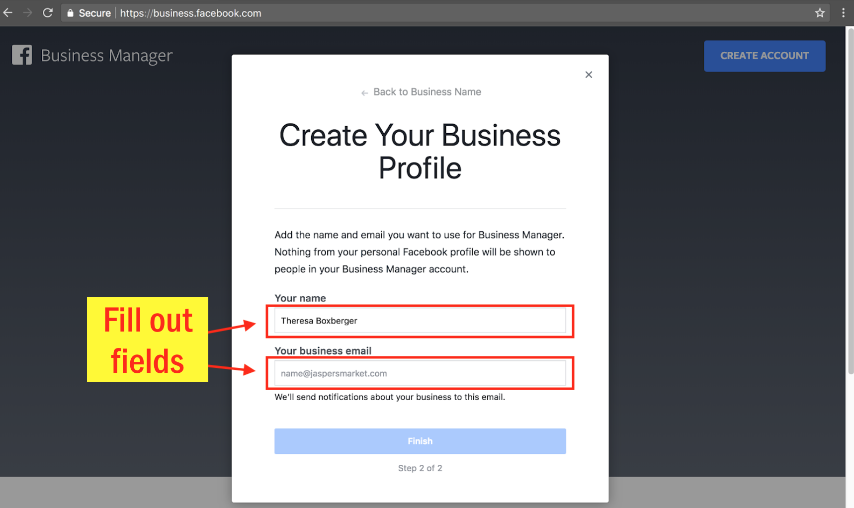 Sign Up for Facebook Business Manager - Step 5 Screenshot