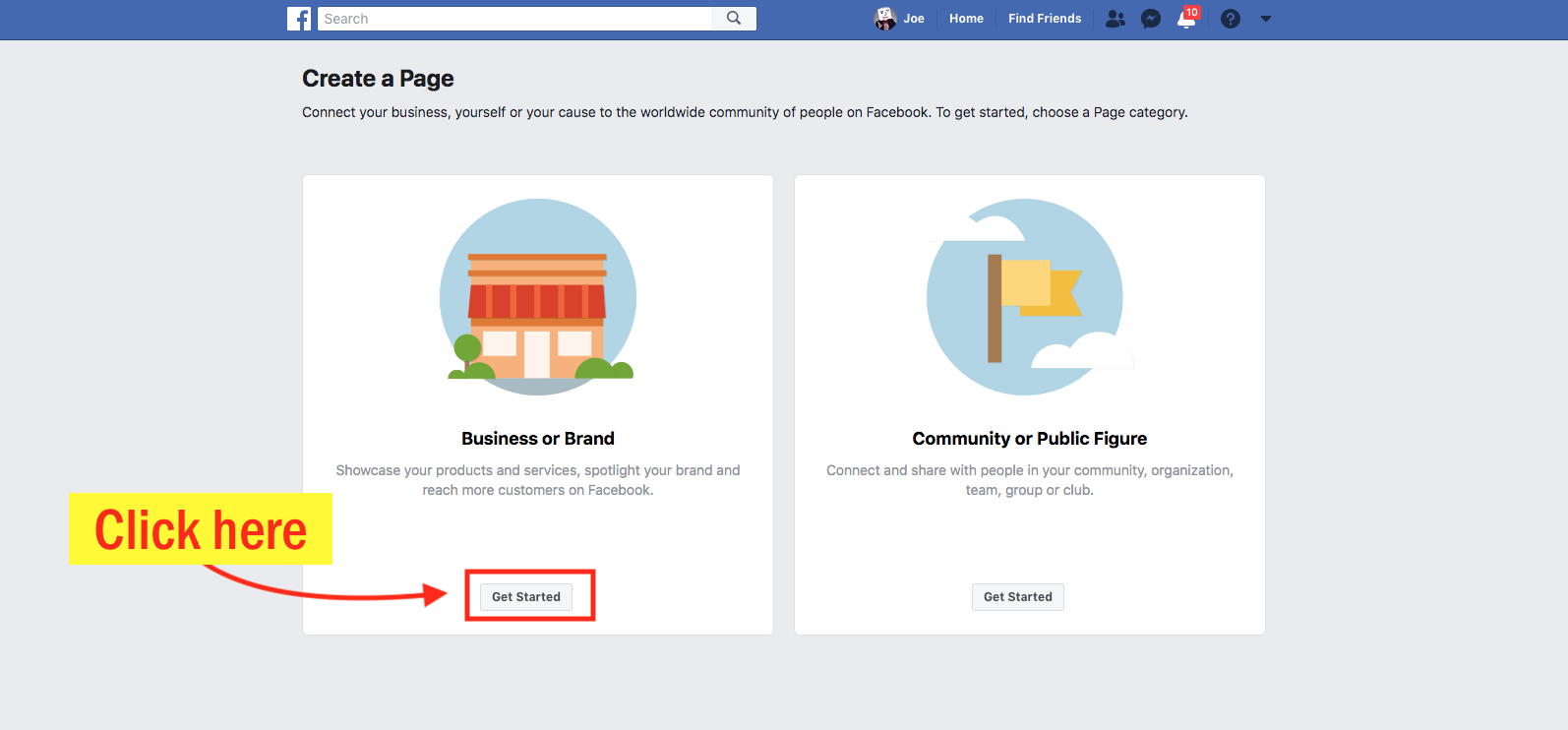 How to Create A Facebook Business Page Step 3 Screenshot
