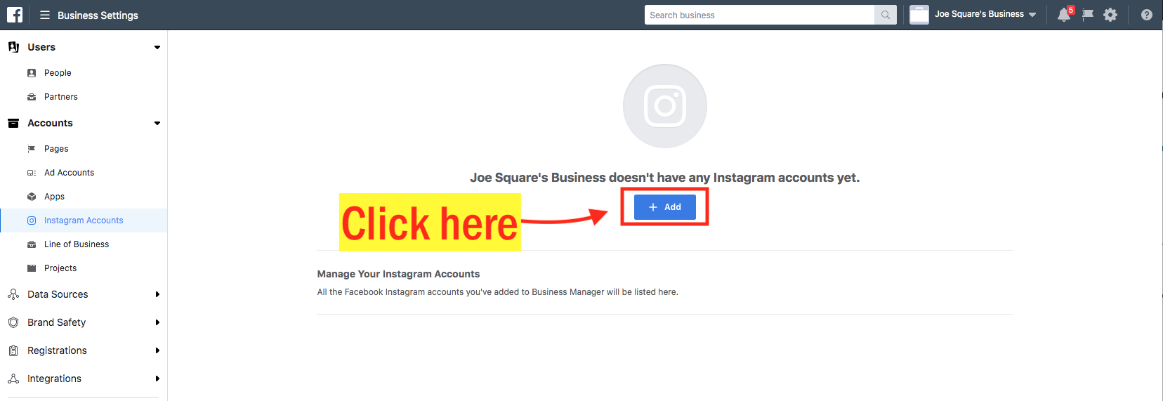 Assign an Instagram Account to an Facebook Ad Account Step 4 Screenshot