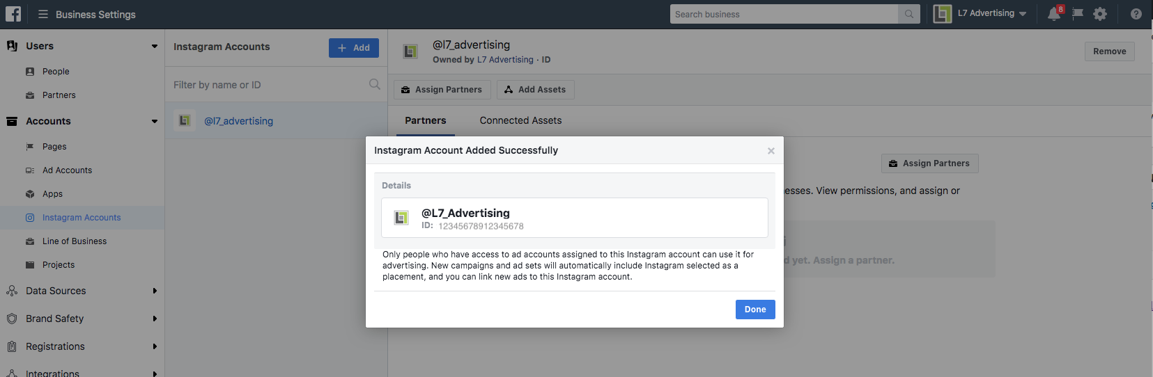 Assign an Instagram Account to an Facebook Ad Account Step 7 Screenshot