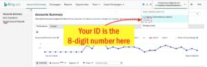 Find Your Bing Ads Customer ID - Step 3 Screenshot