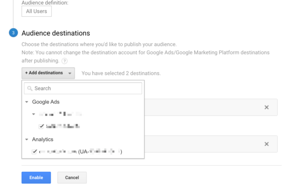 retargeting audience add destination to google ads
